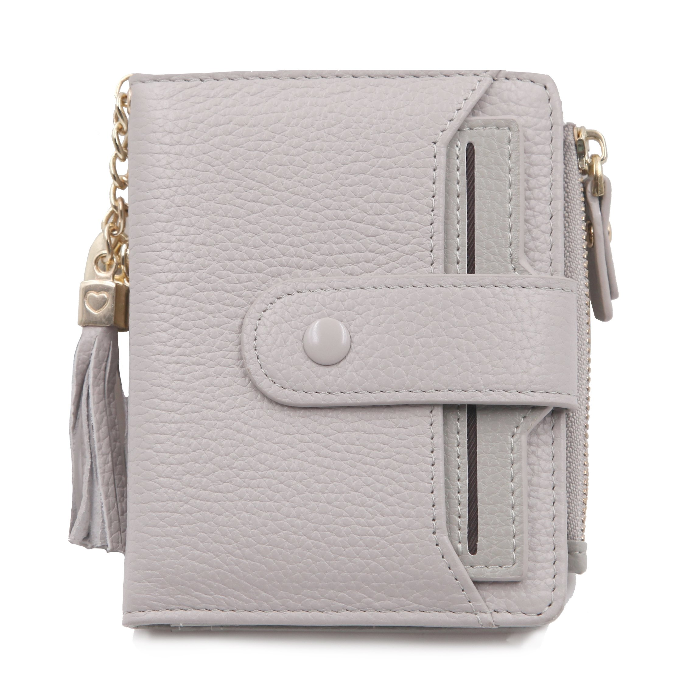 Women's Mini Soft Leather Wallet with ID Window Card Sleeve Bifold Wallet Coin Purse (Gray)
