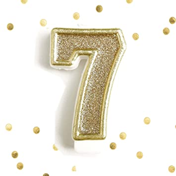 Light Gold Glitter 7th Birthday Candle Number 7 Seven Cake Topper Year
