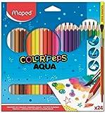 Lápis de Cor Aquarelável + Pincel de Madeira, Maped, Color Peps, 836013, 24 Cores