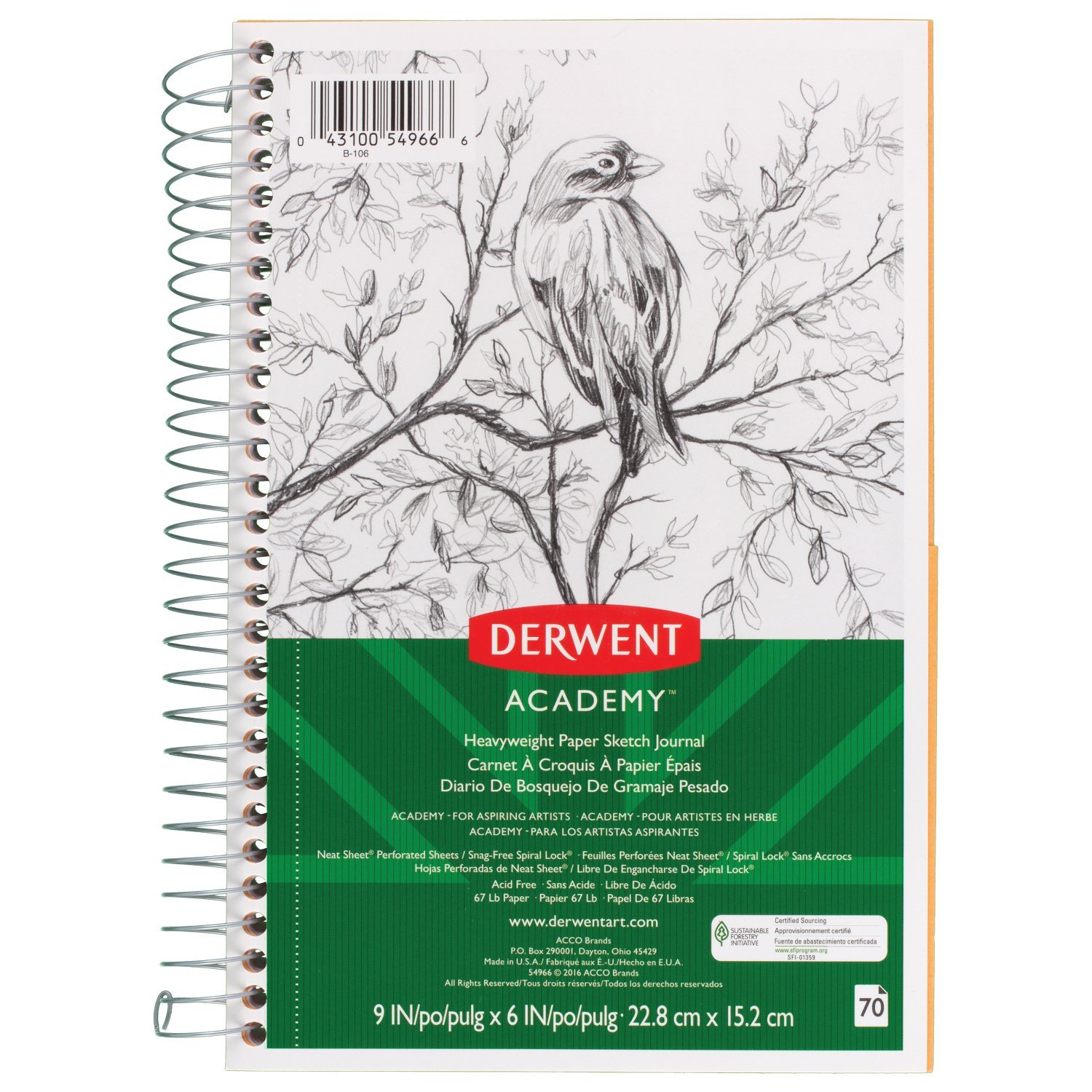 Derwent Academy Paper Sketch Journal, Wirebound, 70 Sheets, 9'' x 6'', Heavyweight (54966)