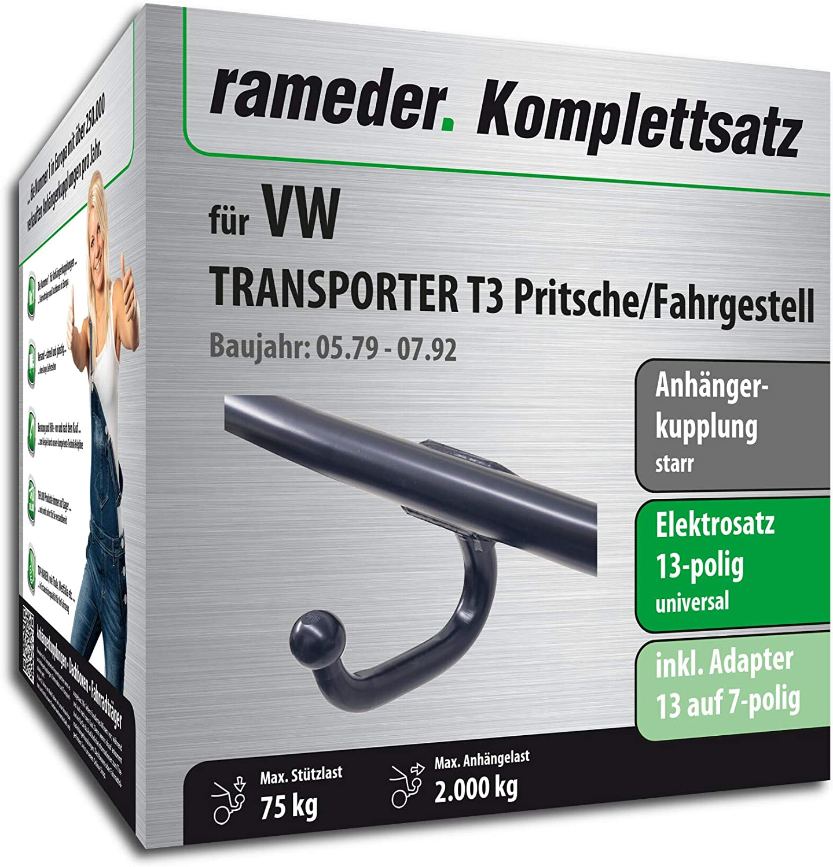 Anh/ängerkupplung starr 124857-01630-3 Rameder Komplettsatz 13pol Elektrik f/ür VW Transporter T3 Pritsche//Fahrgestell