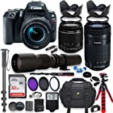 Canon EOS Rebel SL2 DSLR Camera with 18-55mm STM Lens Bundle + Canon EF-S 55-250mm f/4-5.6 IS STM Lens and 500mm Preset Lens + 32GB Memory + Filters + Monopod + Spider Tripod + Professional Bundle