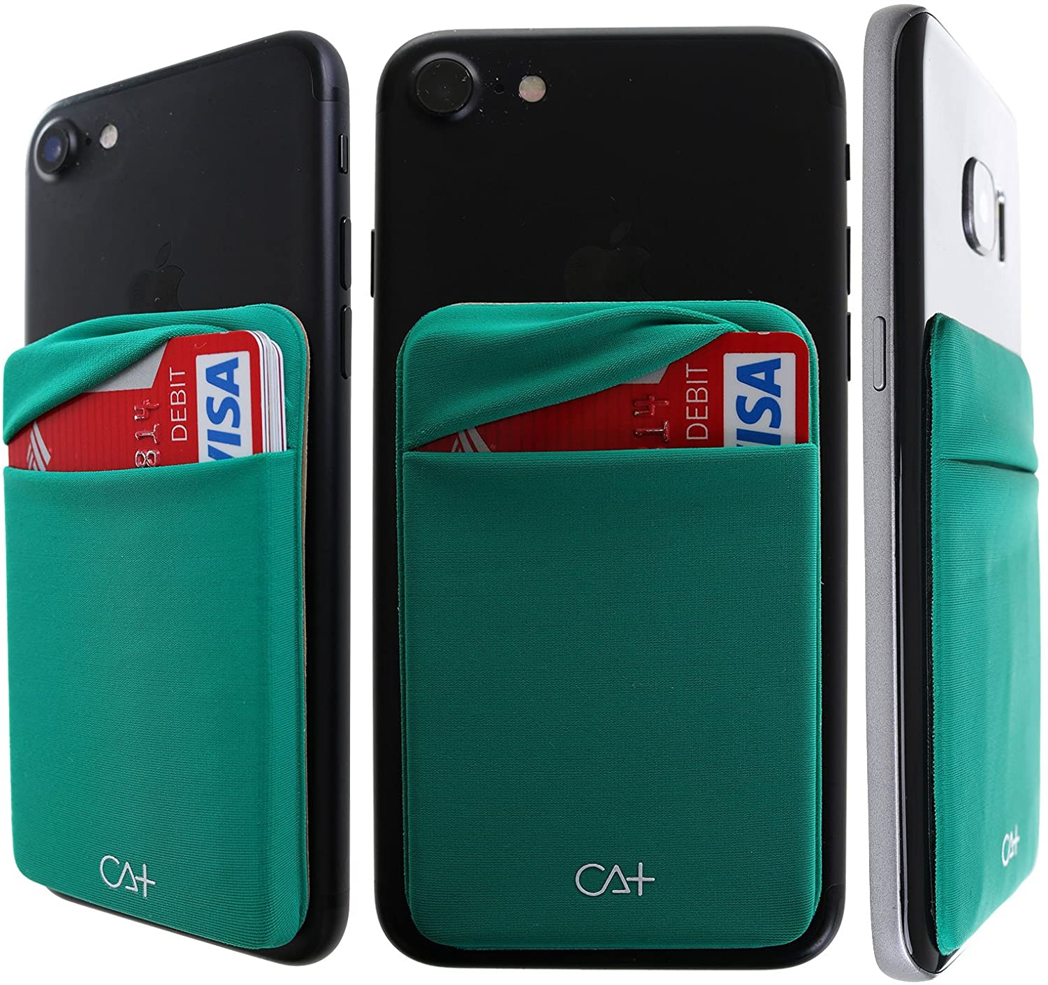 [Double Secure] Lid Credit Card Holder Stick on Wallet Discreet ID Holder Lycra Spandex Card Sleeves for Smartphones, iPhone Galaxy Cell Phone Wallet Case 3M Adhesive (Green)