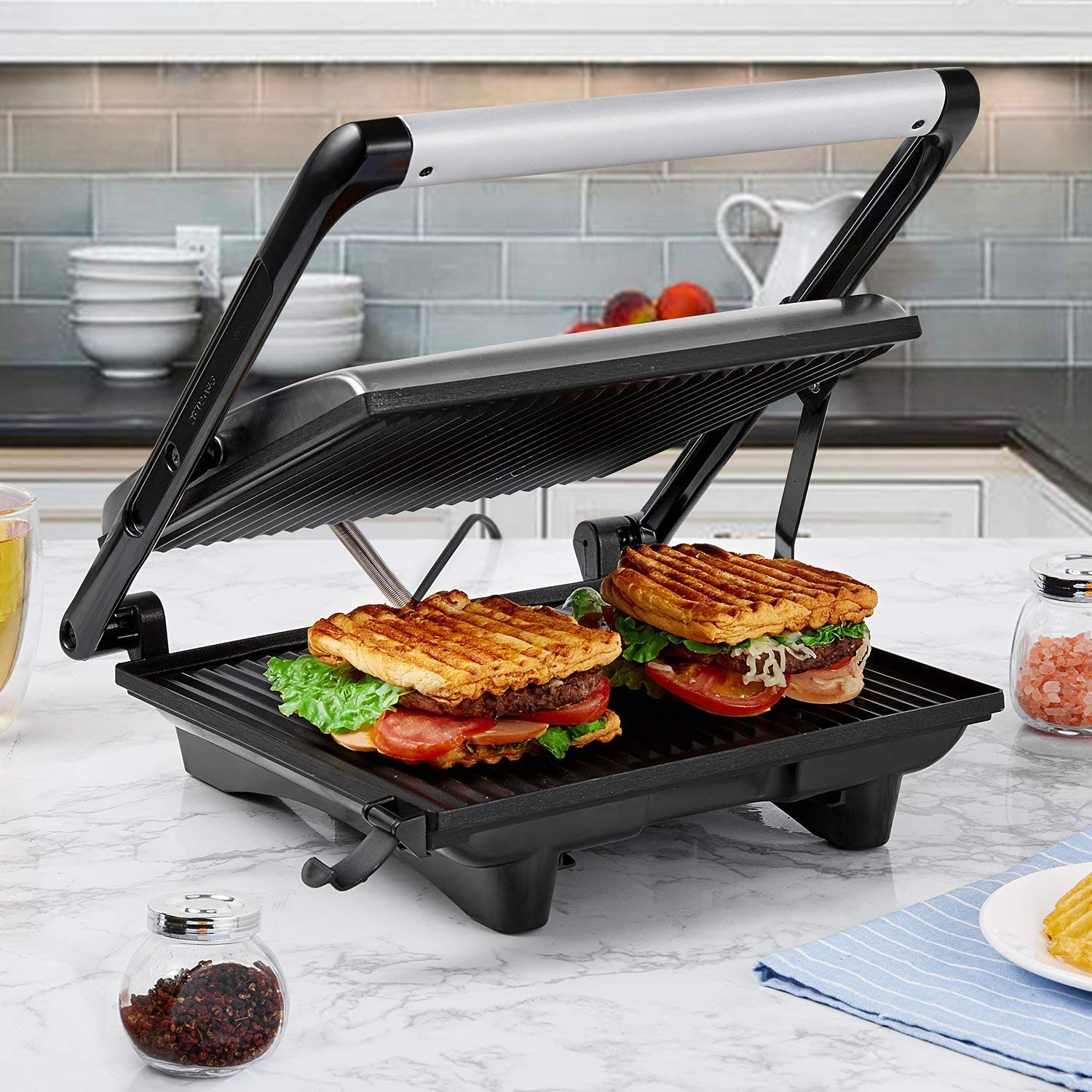 Panini Press Gourmet Sandwich Maker, 4-Slice Extra Large Panini Press Grill with Non-Stick Coated Plates and Removable Drip Tray, Stainless Steel, 1200W by AICOK