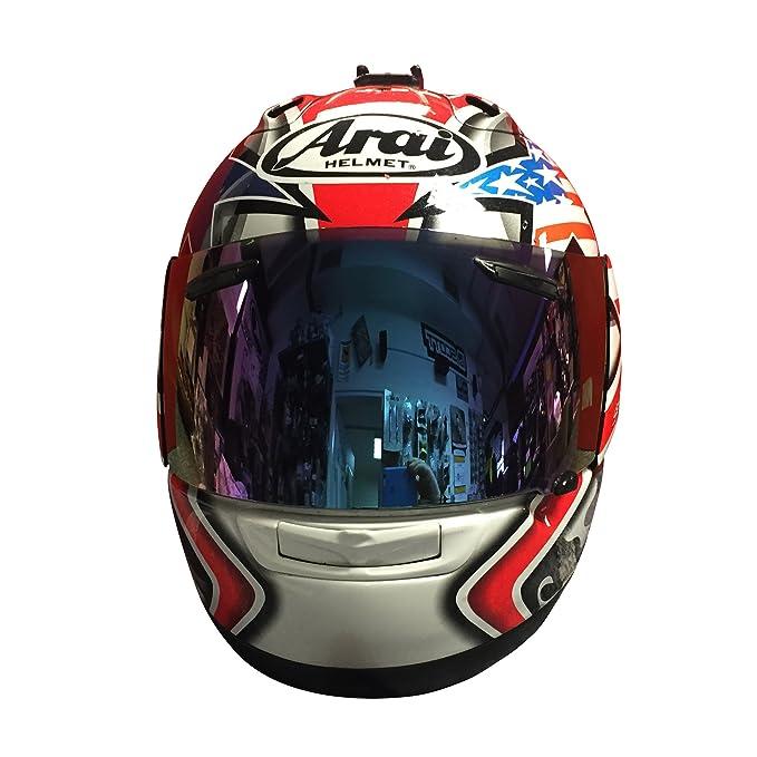 Visera con efecto de espejo para casco Arai RX7-GP, Quantum, St Corsair V, Chaser V RR5, color azul: Amazon.es: Coche y moto