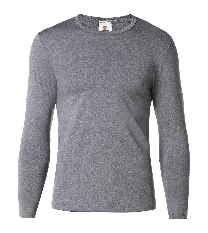 LAPASA Men's Thermal Underwear Tops Fleece Lined Base Layer Long Sleeve Shirts 1 Pack M09 (L Chest 41''-43'' Sleeve 23.6'', Lightweight Dark Grey1) by LAPASA