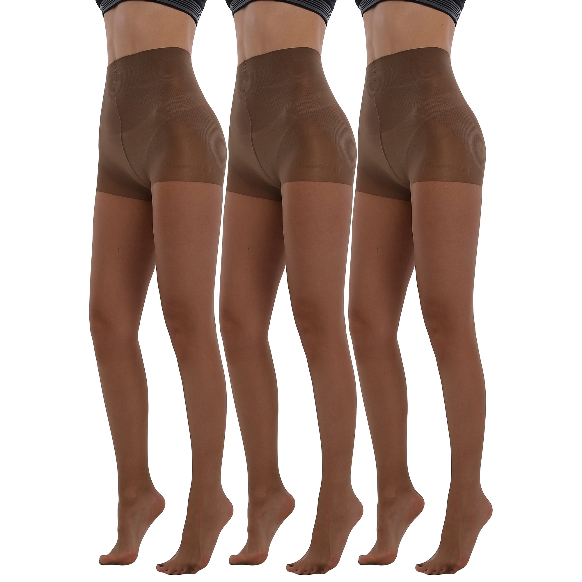 BONAS 3Pack Shock Up Pantyhose 20 Denier Control Top Stockings Push Up Tights Shaped