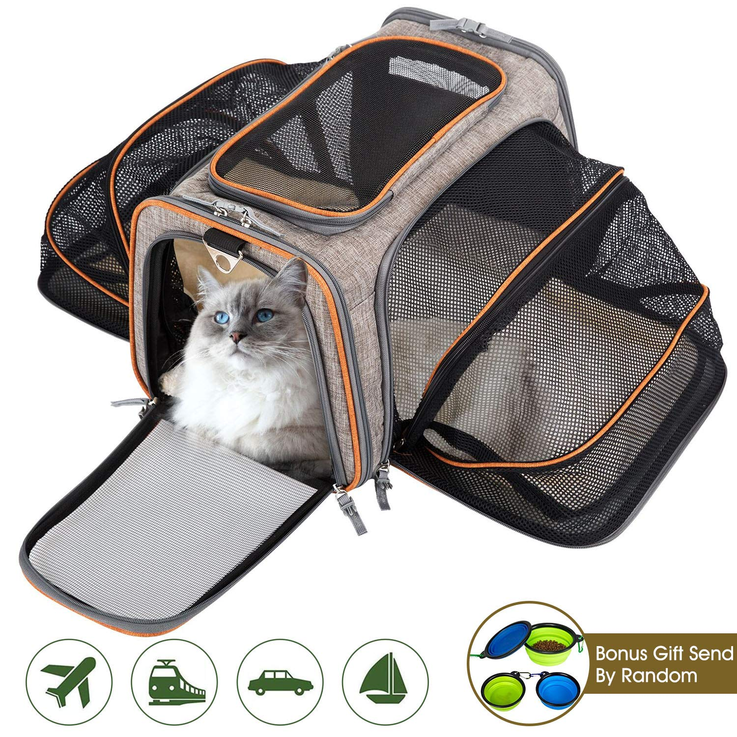 MOVEPEAK Pet Carrier for Cats,Dogs,Puppy with Airline Approved - Expandable Soft Sided Pet Tote Carriers Bags,Folding Pets Kitten Cat Carriers Bags,Portable Pet Supply Carrier Bags for Puppies by MOVEPEAK