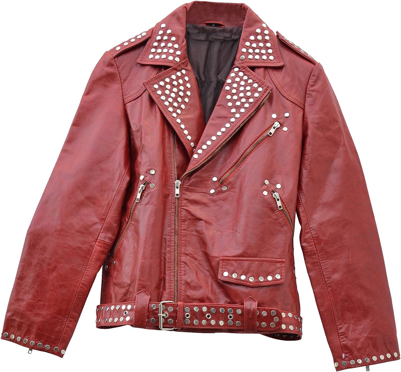 El celibato 21000890.029S Ladies Rockabilly chaqueta de cuero chaqueta de cuero estilo motero con cremallera, corto, S grande, rojo