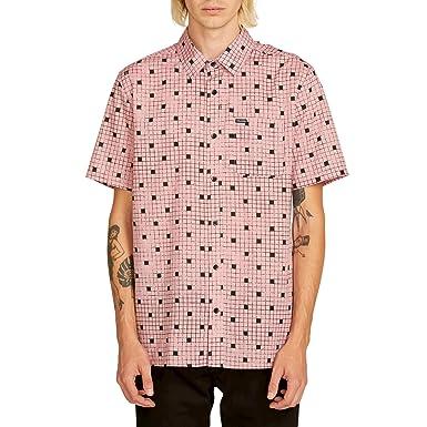 ca10024a Volcom Men's Crossed Up Short Sleeve Button Up Shirt, Light Mauve Extra  Small