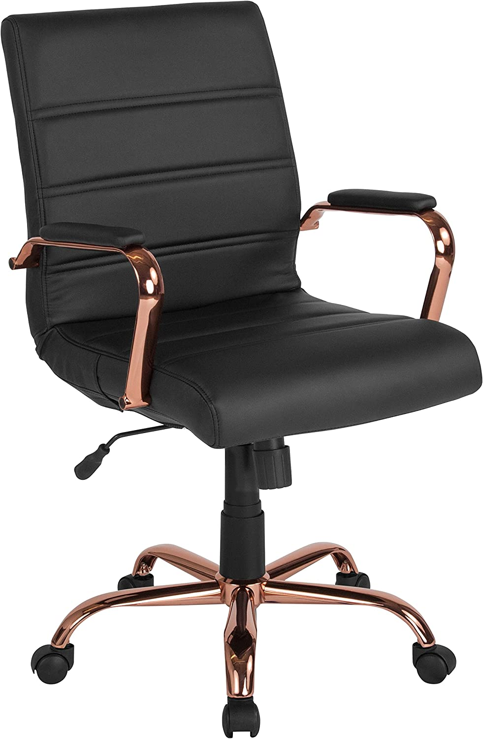 BIFMA Certified Flash Furniture Mid-Back White LeatherSoft Executive Swivel Office Chair with Chrome Base and Arms