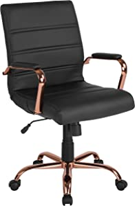 Flash Furniture Mid-Back Black Leather Executive Swivel Chair with Rose Gold Frame and Arms