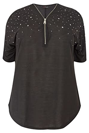 783a0a6bfd977 Yours Clothing Women s Plus Size Top with Zip Neckline   Studded Detail Size  16 Black