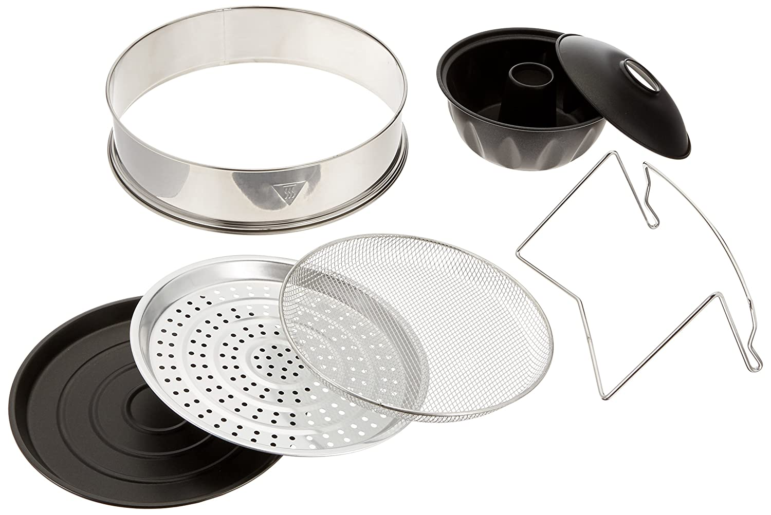 Oyama Turbo Oven Accessory Deluxe Package with Extender Ring, Bundt Cake Pan, Stainless wire mesh, Steamer pan, Grill pan, and Turbo lid stand