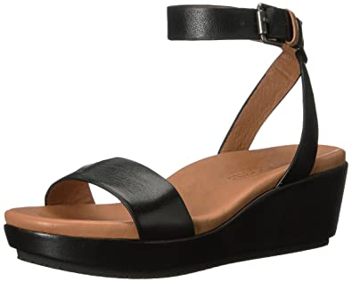 288dbbbe6d89 Gentle Souls by Kenneth Cole Morrie Platform Wedge Sandal with Ankle Strap  Black