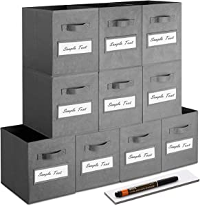 artsdi Set of 10 Storage Cubes, Foldable Fabric Cube Storage Bins with 10 Labels Window Cards & a Pen, Collapsible Cloth Baskets Containers for Shelves, Closet Organizers Box for Home &Office,Gray