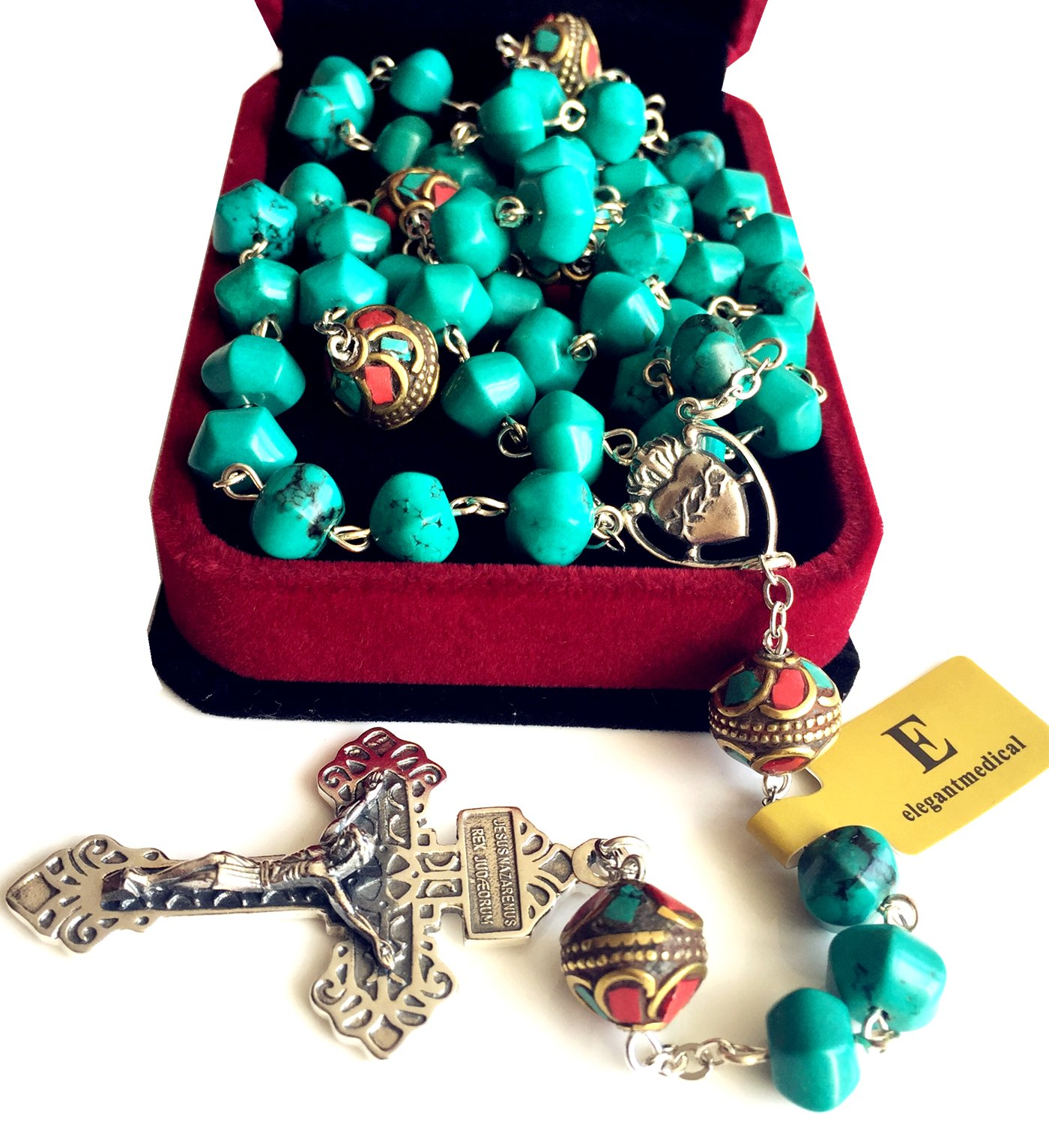 elegantmedical Turquoise TIBET COPPER BEADS STERLING 925 SILVER ROSARY NECKLACE Catholic