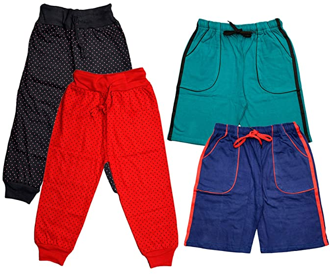 Buy KAYU Boys Cotton Printed Capris and Solid Bermudas (Blue/Sky  Blue/red/Black_8-9 Years) Pack of 4 at Amazon.in