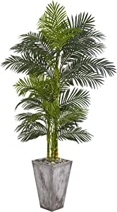 Nearly Natural 7' Golden Cane Artificial Palm Cement Planter Silk Trees Green