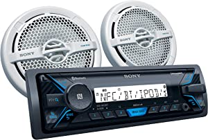 Sony DXS-M5511BT Marine Digital Media Receiver with Bluetooth and 6.5 inch dual cone speakers (White)