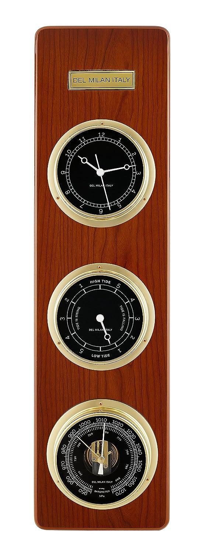 Del Milan 3 in 1 Fishermans Station, Clock, Tide Clock, Barometer, Teak Finish