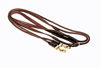 Rico Reins Biothane Leather Rope Draw Reins 16mm Width Brown