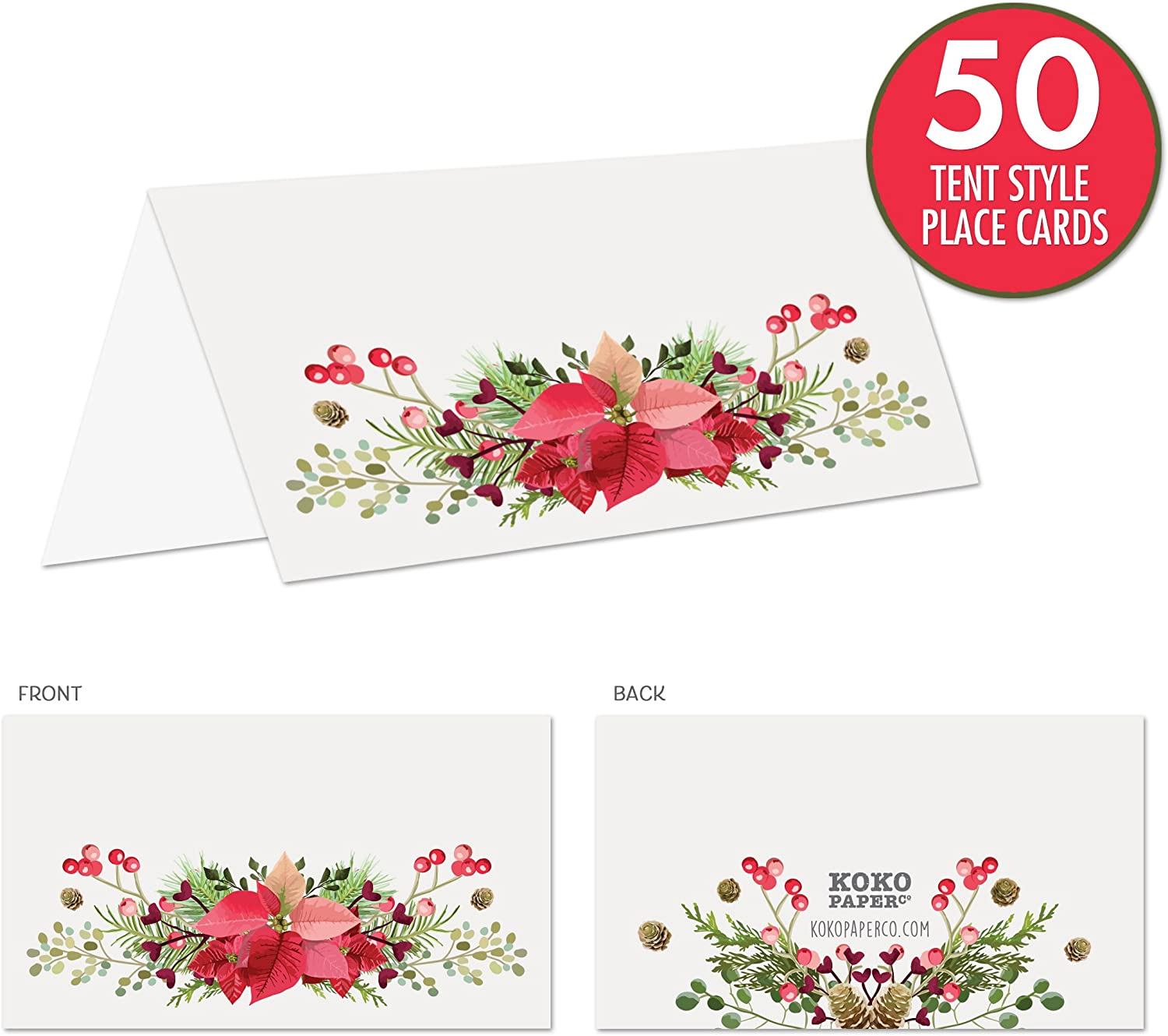 No Holder Necessary. Brunch Koko Paper Co Rustic Christmas Place Cards with Poinsettia Pine Cones and Winter Florals Pack of 50 Tent Style Cards for Holiday Dinner Holly or Any Occasion Party