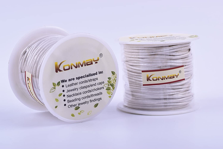 KONMAY 25 Yards 1.5mm Metallic Pink Solid Round Genuine//Real Leather Cord Braiding String 1.5MM, Metallic Pink