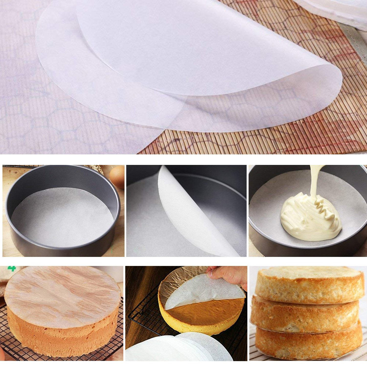 4'' 7'' 9'' Springform Cake Pan and 150-piece Parchment Paper Liners,Non-stick Round Bakeware Cake Pan 2 Icing Spatula 3 Icing Smoother by Hanyan (Image #5)