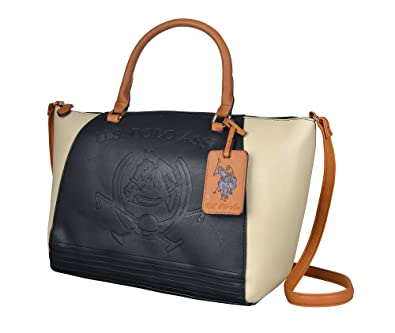 83e34bd3e2 US Polo Assn. Edie Womens Satchel Designer Handbag in Black  Handbags   Amazon.com