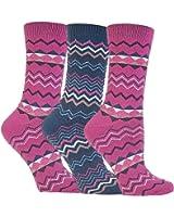 Ladies Striped Floral Print Pack Of 3 Thermal Socks