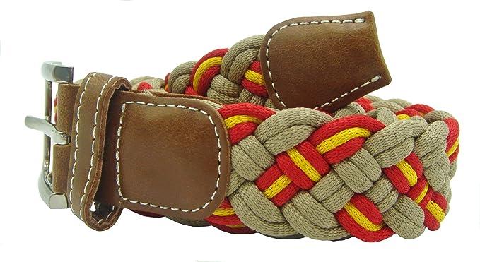 Pi2010 Cinturón beige trenzado con bandera de España 115cm: Amazon.es: Ropa y accesorios