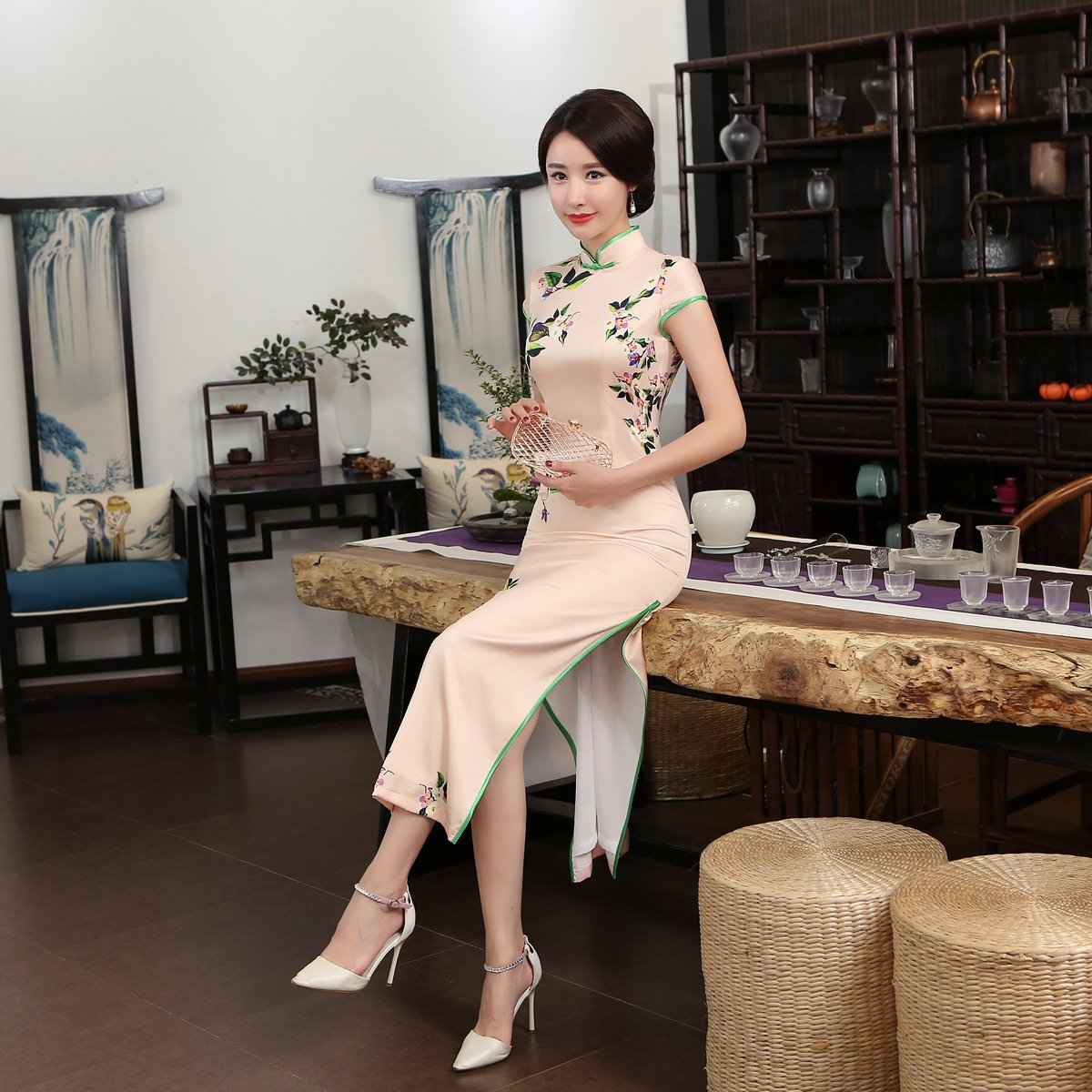 ACVIP Women Cap Sleeve Vintage Chinese Floral Maxi Qipao Side Split Cheongsam (China M/Bust:33.5'') by ACVIP (Image #9)