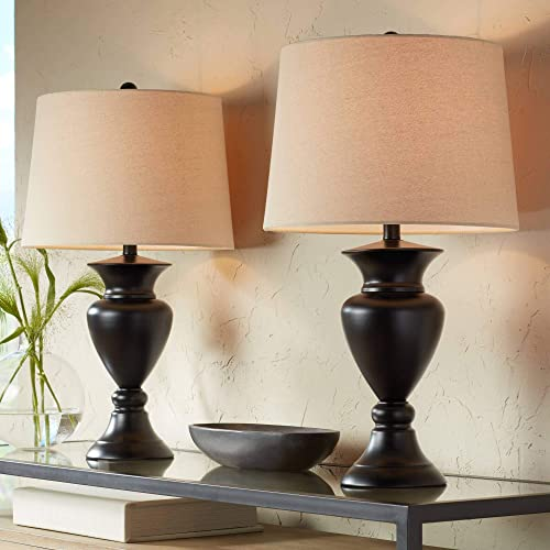 Traditional Table Lamps Set of 2 Dark Bronze Urn Ivory Tapered Drum Shade