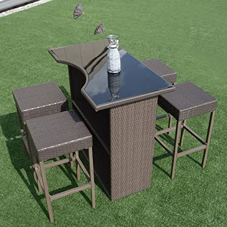 Tangkula 5 PCS Patio Barstool Dining Table Set Wicker Rattan Garden Bar Stool & Amazon.com : Tangkula 5 PCS Patio Barstool Dining Table Set Wicker ... islam-shia.org