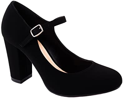 Shoes Women's Nola-S Round Toe Suede Dressy Pumps with Block Heel and Buckle Closure