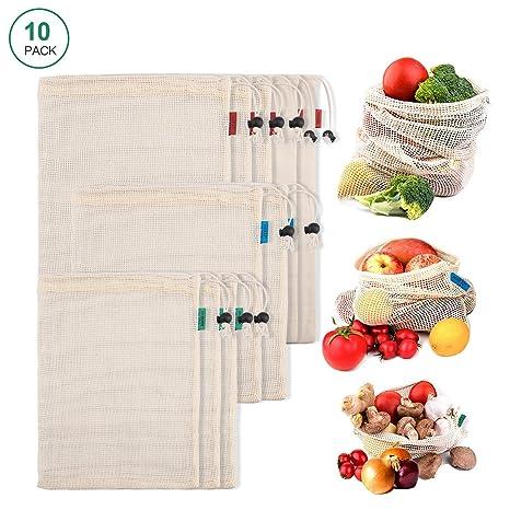 Bolsas Reutilizables Hechas con Malla de Algodón Orgánico Natural, Bolsa de Compras Lavable Son Producto Seguro y Ecológico para Guardar Frutas, ...
