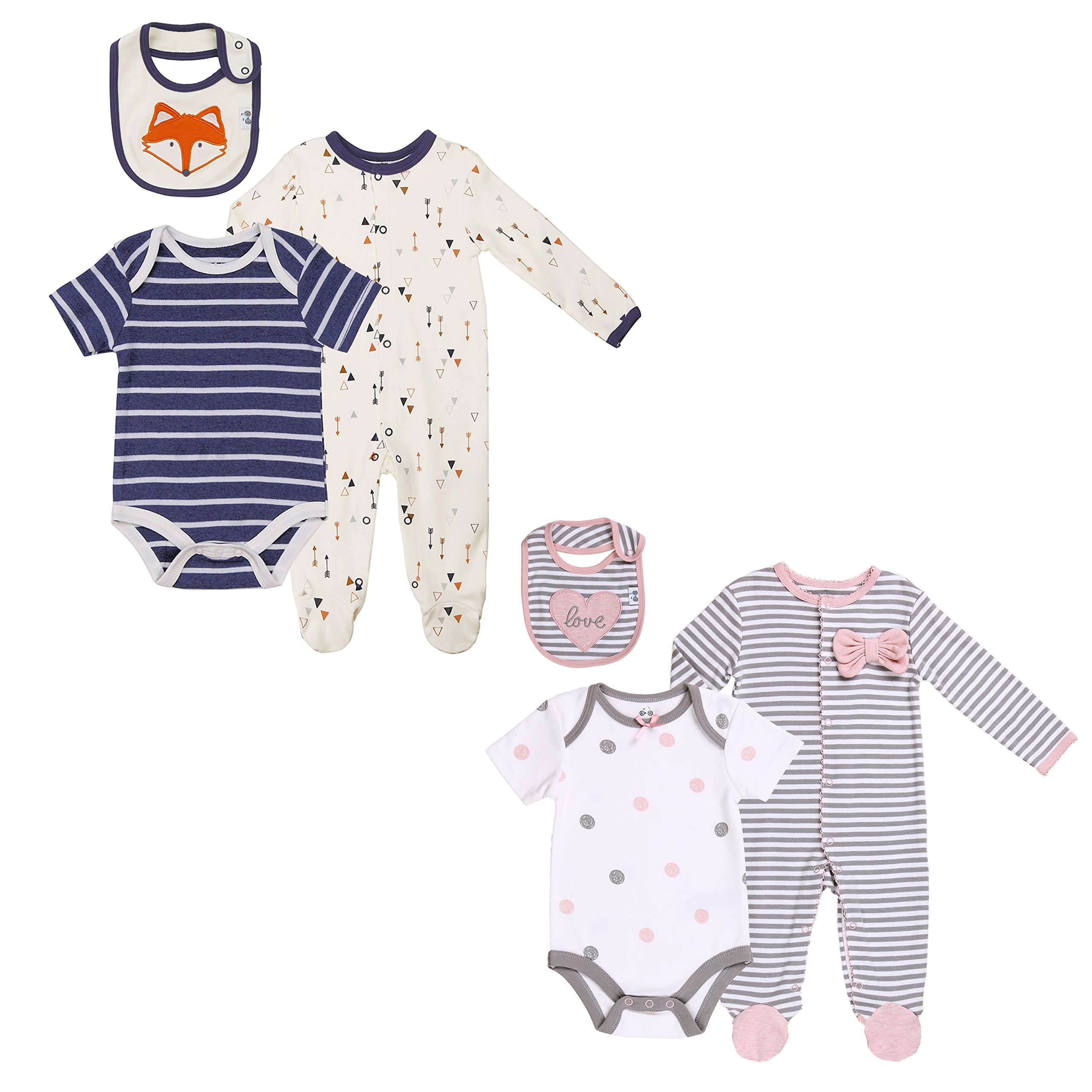 Baby Twin Boy-Girl Gift Outfits Layette 6 pcs Set 3-6 Months