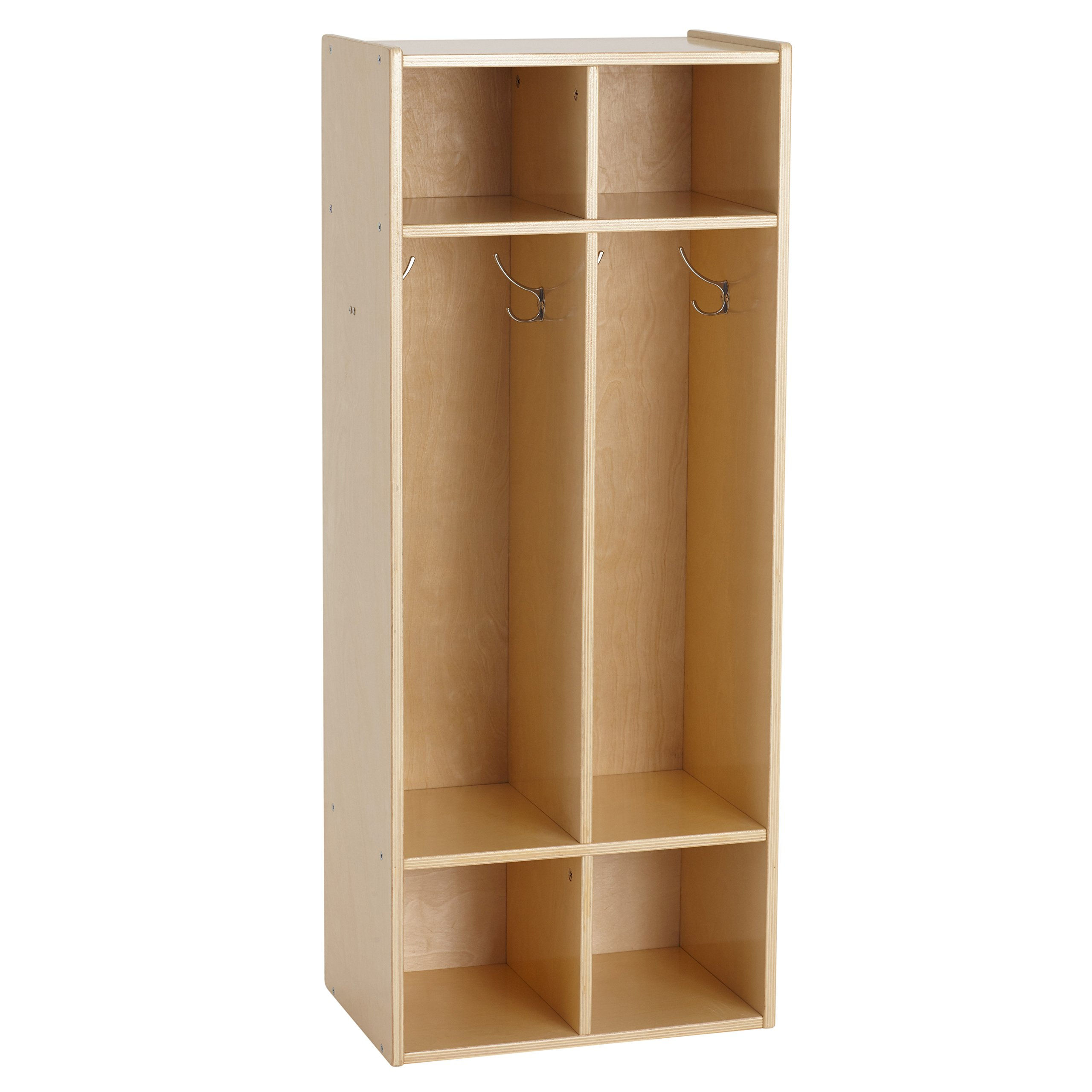 "ECR4Kids Birch Streamline 2-Section Coat Locker, Wood Coat and Backpack Storage for Kids, 45"" Tall - Natural"