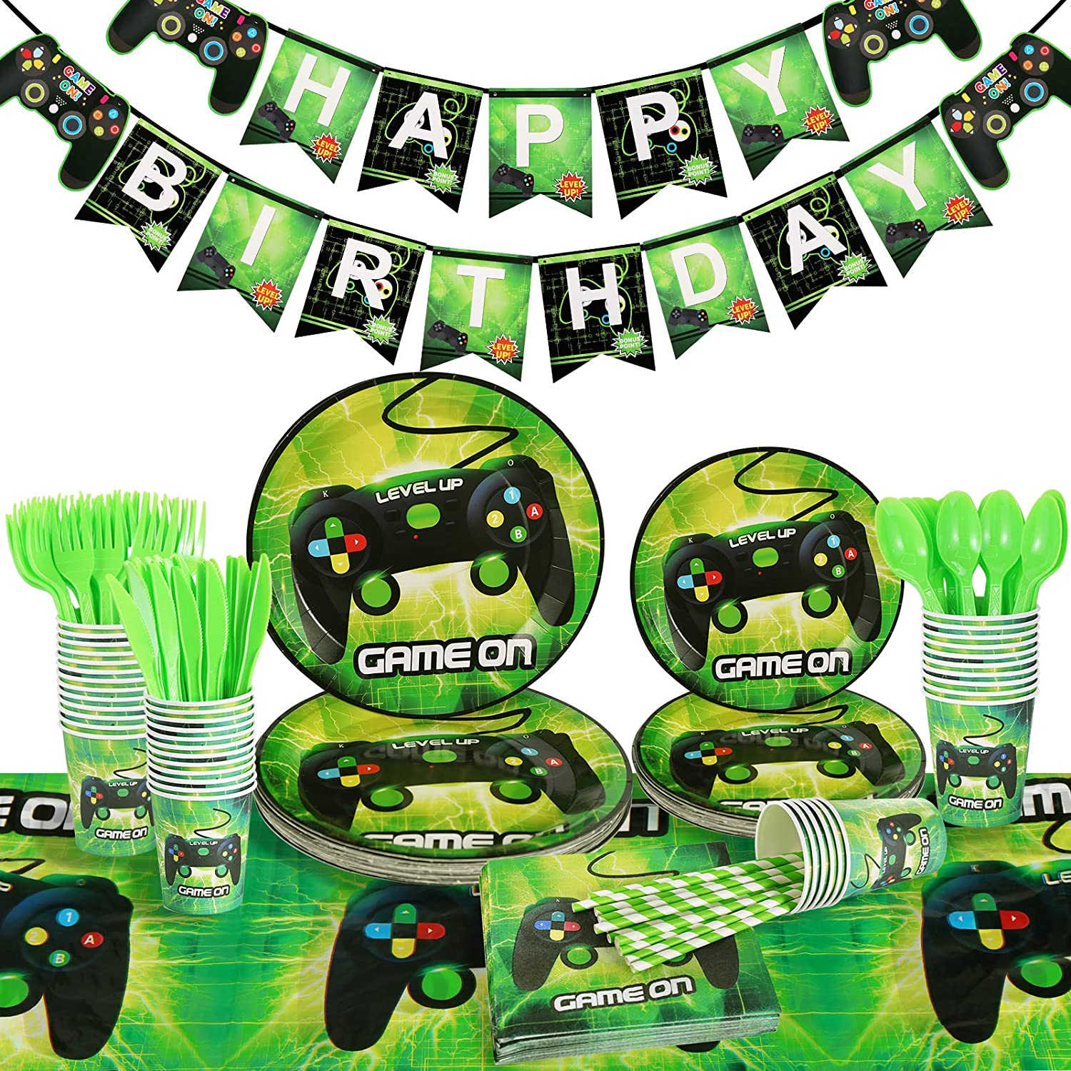 Homyplaza Video Game Party Supplies, 203Pcs Birthday Plates and Napkin Set for Boys Gamer, Includes Party Plates, Gamer Table Cloth, Happy Birthday Banner, Flatware, Cups, Straws, Napkins, Serves 25