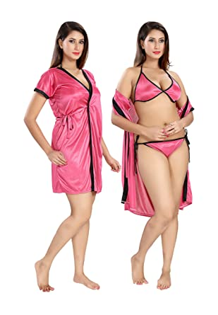 cdbe8e5a6 Shopping Station Women's Floral Prited Nighty With Robe(Free ...