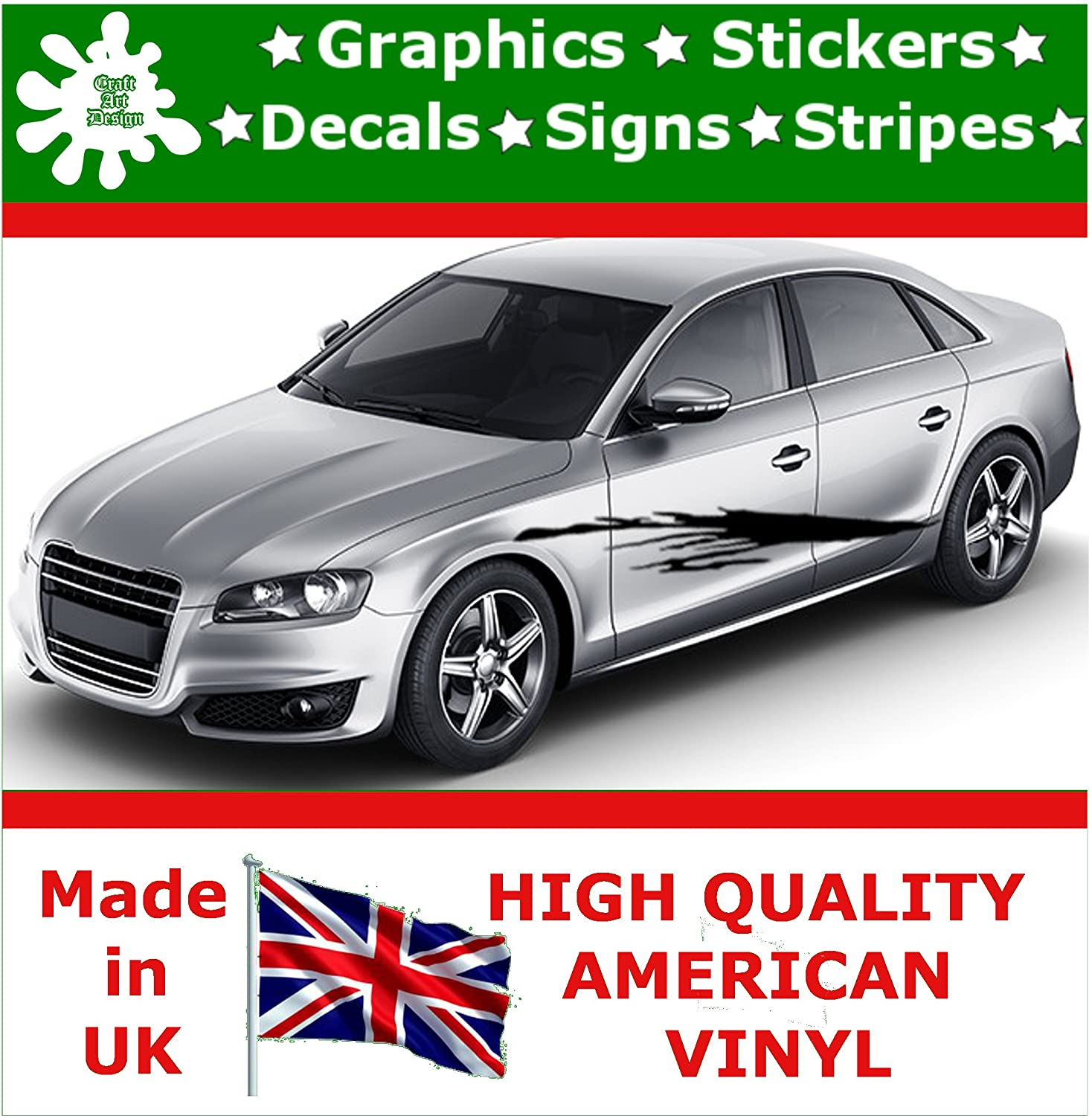 Craft art design car stickers 10 inch side stripes stickers graphics vinyl decal decals racing sticker stripe graphic body race decal self adhesive