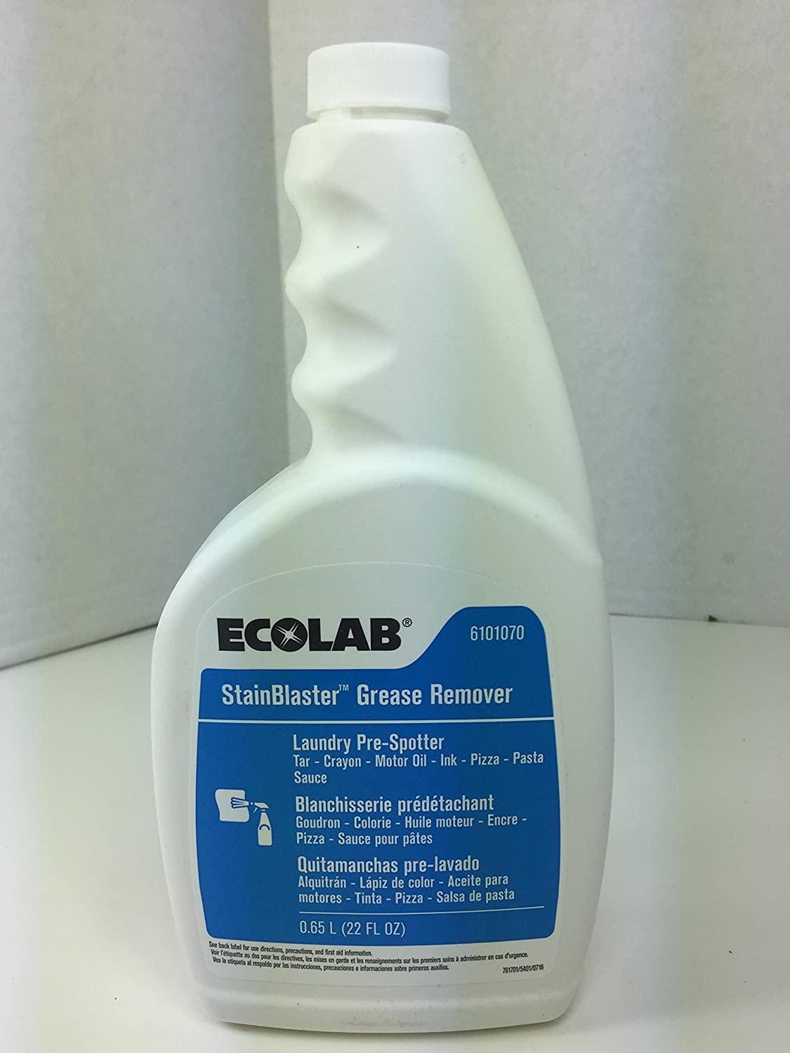 Amazon.com: Ecolab Stainblaster Grease Remover Laundry Pre-Spotter- 22 FL OZ: Industrial & Scientific