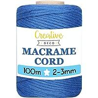 Creative Deco 100 m Blauw Macrame Koord Katoenen Koord | 2-3 mm (+-0.5 mm) Dikte 15-laags Koord | 328 Voeten | Grote…