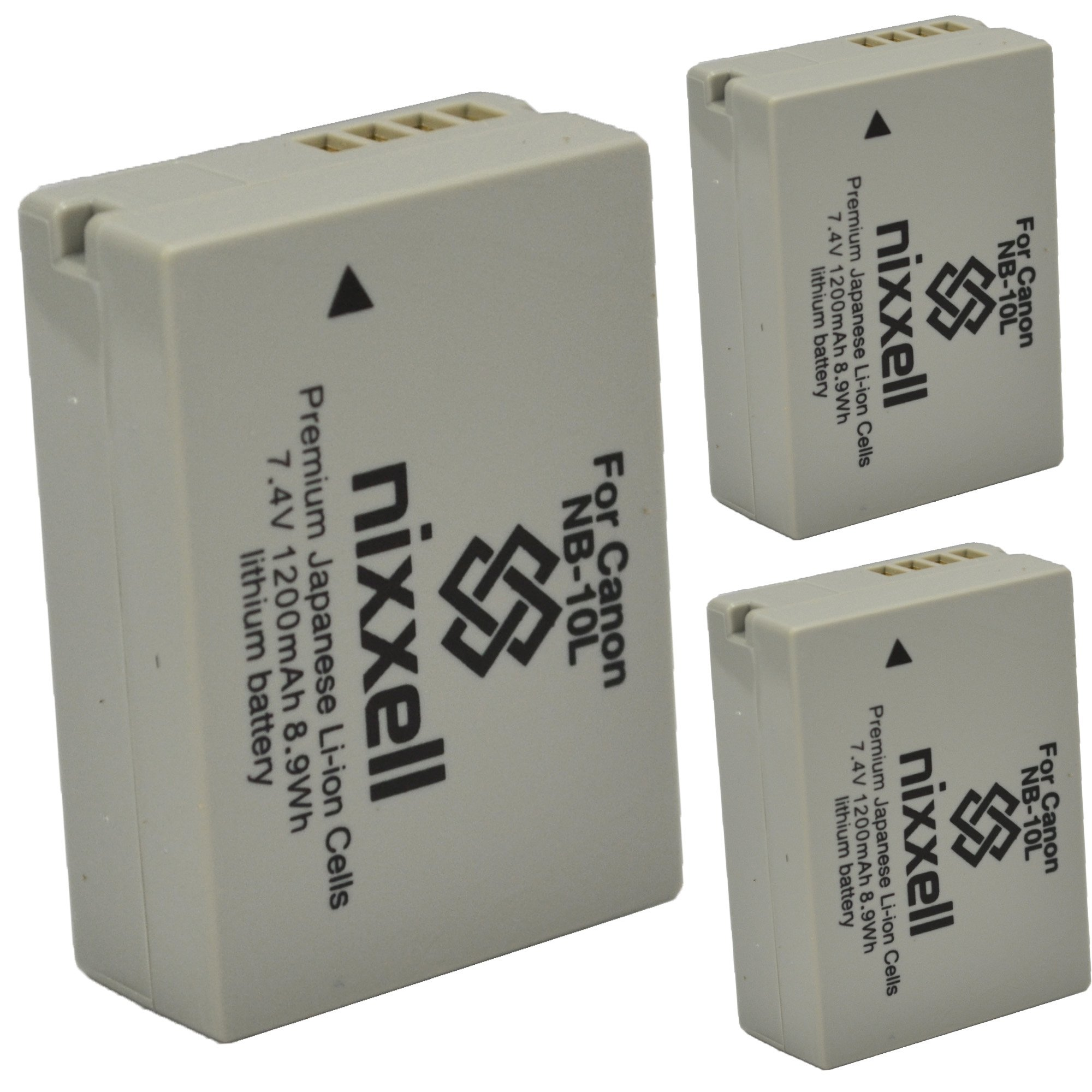 (3 Pack) Ultra High Capacity Nixxell Battery for Canon NB-10L CB-2LC for Canon PowerShot G1 X, PowerShot G15, PowerShot G16, PowerShot SX40 HS, PowerShot SX50 HS, PowerShot SX60 HS & Many More!