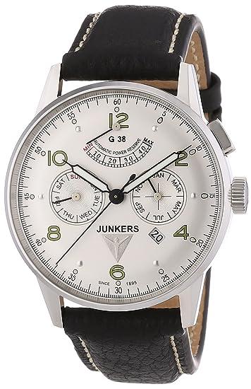 Junkers G 38 - Reloj de automático para hombre, con correa de cuero, color negro: Amazon.es: Relojes