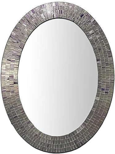 Bohemian Rhapsody Wall Mirror -Purple Rain – Glass Mosaic Decorative Wall Mirror, Silver Violet 32.5 x 24.5 in, Oval