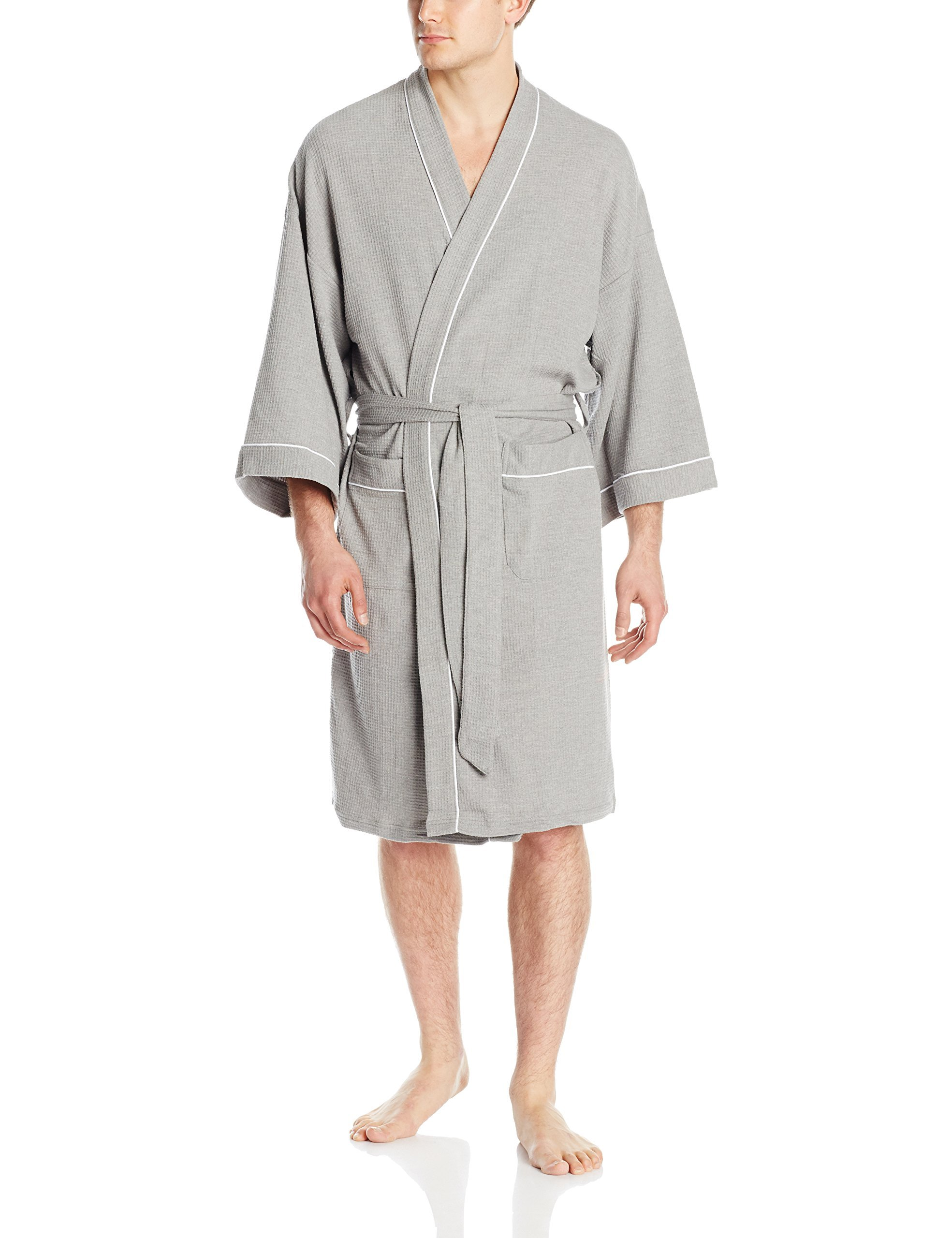 WULFUL Men's Cotton Lightweight Bathrobe Waffle-Knit Kimono Robe Soft Spa Bathrobe Nightgown Sleepwear (Grey, L)
