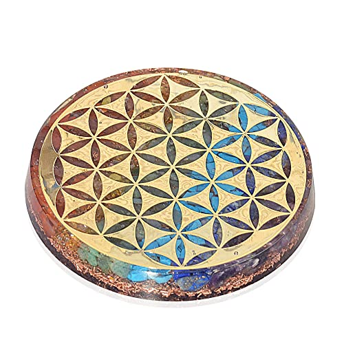 Orgonite Crystal Water Charging Plate Chakra Balancing Coaster and Positive Energy Generator Flower of Life and with 7 Healing Crystals for EMF Protection 4 Inch Diameter