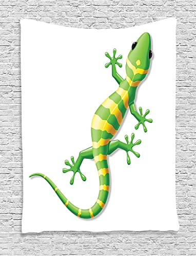 Ambesonne Reptile Tapestry, Cartoon Lizard Moving on Ground Plain Background Nature Prehistoric Wild Life Home, Wall Hanging for Bedroom Living Room Dorm Decor, 40 X 60 , Green Yellow